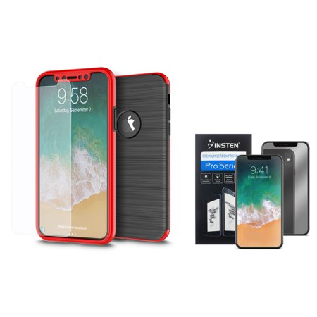 Insten 360 Full Body Rugged Front Back Hard TPU Cover Hybrid Case with Tempered Glass Screen Protector for Apple iPhone X Black/Red (Combo with Mirror Screen Protector)