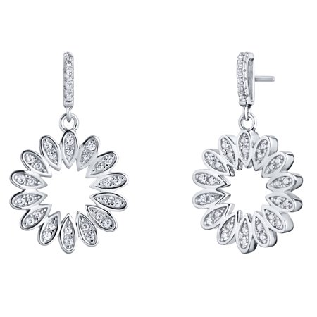 Sterling Blossom - Sterling Silver Cubic Zirconia Blossom Dangle Drop Earrings