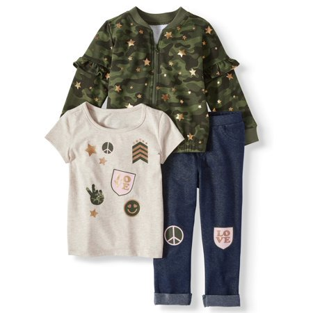Ruffle Detail Bomber Jacket, T-shirt, & Pants, 3-Piece Outfit Set (Toddler Girls) - Elf Outfits For Toddlers