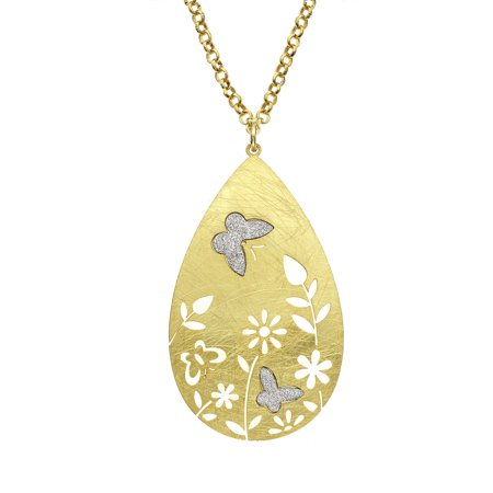 Drop Gold Tone Necklace (Gold Tone Flower Etched and Crystalize Butterfly Teardrop Pendant Necklace )