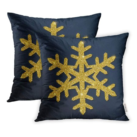 EREHome Gorgeous Snowflake Luxurious Christmas Golden Dust and Sparkles Pillow Case Pillow Cover 16x16 inch Set of 2 - image 1 de 1