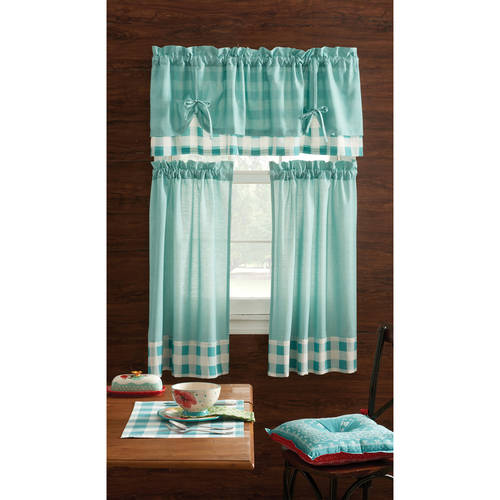 Pioneer Woman Kitchen Curtain and Valance 3pc Set, Charming Check, Teal