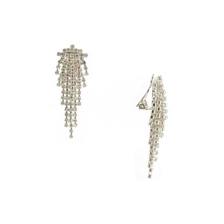 Wedding Earring Silver Crystal Chandelier Clip Earrings
