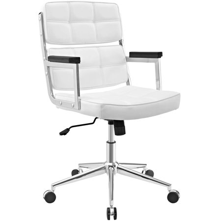 Modern Contemporary Urban Design Work Home Office Highback Chair White Faux Leather
