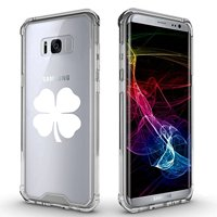 For Samsung Galaxy Clear Shockproof Bumper Case Hard Cover 4 Leaf Clover (White For Samsung Galaxy S8)