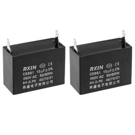 450V AC 10uF Single Insert Metallized Polypropylene Film Capacitors  2Pcs
