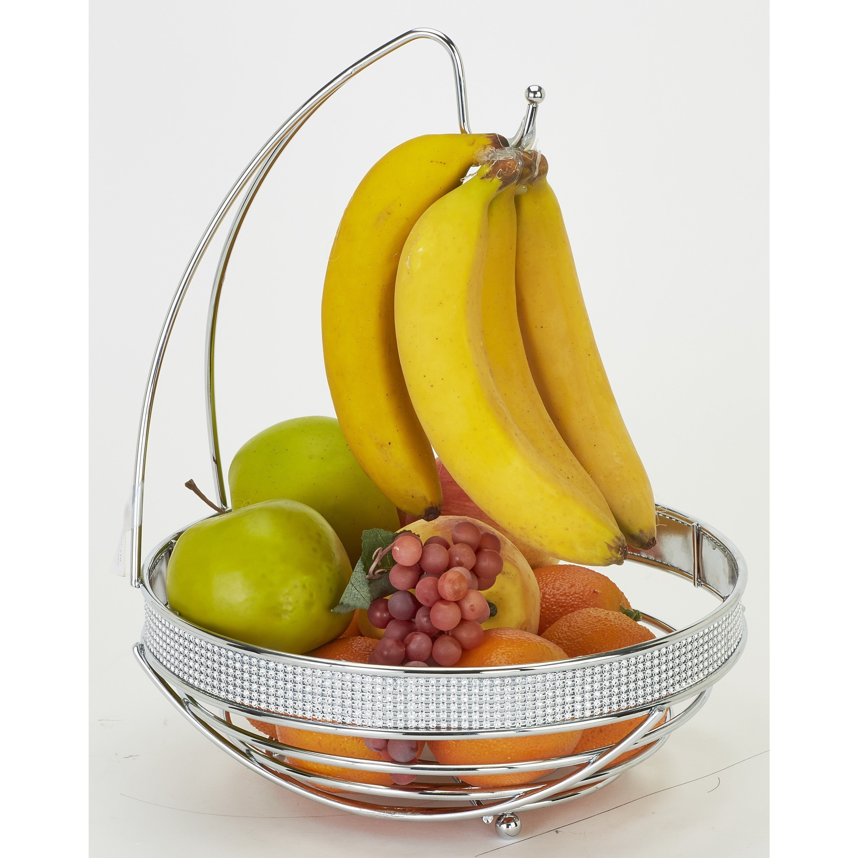 Simplify Round Fruit Basket with Banana Tree, Chrome Pave Diamond Design
