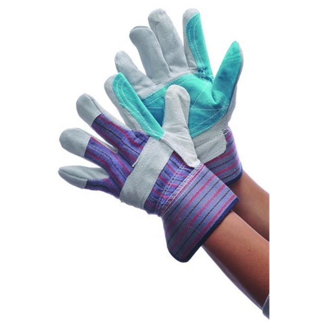 Bulk Buys Leather Green Double Palm Work Gloves - Case of 72