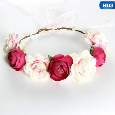 AkoaDa Flower Headband Garland Hair Band Bridal Crown Wreath Festival Boho Wedding (Bridal Wreath Headband)