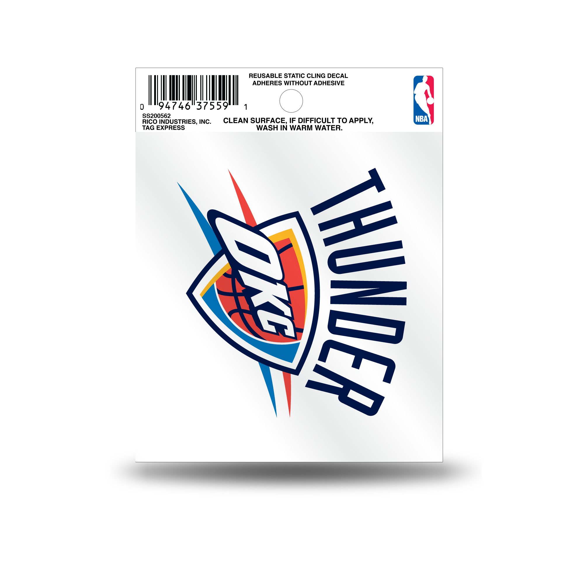 Oklahoma city thunder official nba 3 5 inch small static cling window car decal by rico