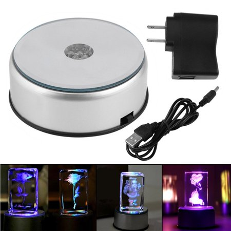 7 Color LED Light Rotating Crystal Display Base Stand Holder with AC US Adapter Silver