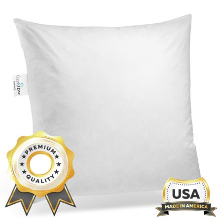 ComfyDown Set of Two, 95% Feather 5% Down, 12 X 12 Square Decorative Pillow Insert, Sham Stuffer - MADE IN USA