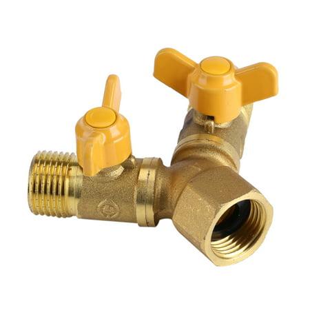 Hose Faucet Adapter (WALFRONT G1/2 Brass Garden Irrigation 2 Way Double Tap Hose Adapter Dual Faucet Connector, 2 Way Tap Adapter, 2 Way Tap)