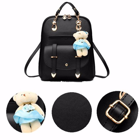 - Women's Sweet Bear Bag Casual Backpack PU Leather Shoulder Bag with Bear Pendant Travel Book Bags