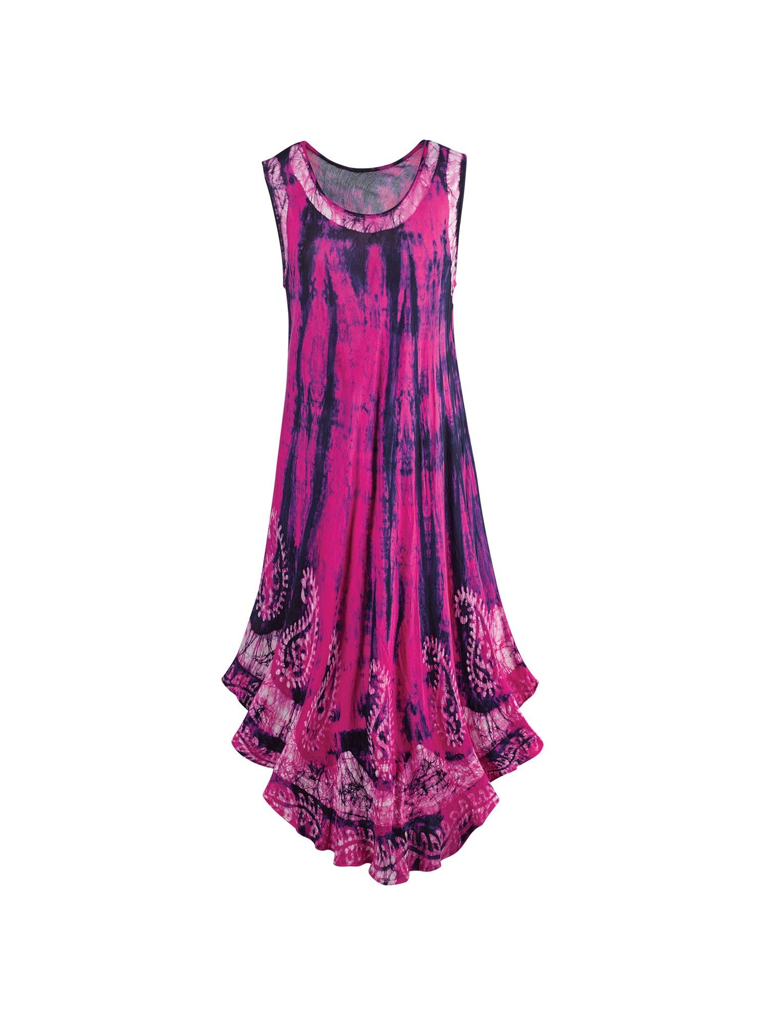 Catalog Classics Women's Hot Pink & Navy Tie-Dye Sundress -Midi Dress Hi-Low Hem