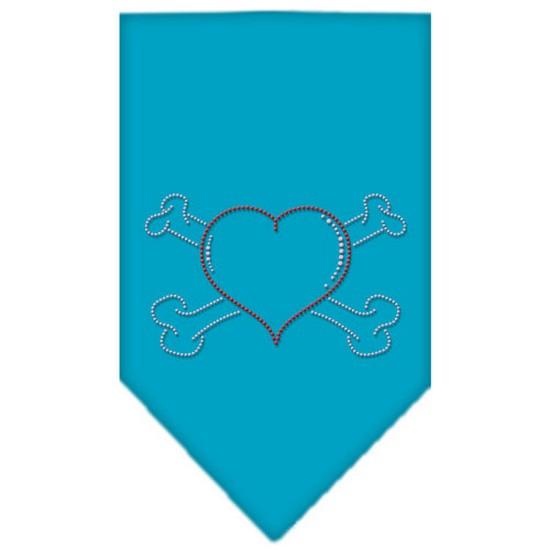 Heart Crossbone Rhinestone Bandana Turquoise Small