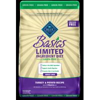 Blue Buffalo Basics Limited Ingredient Diet, Grain Free Natural Adult Dry Dog Food, Turkey & Potato, 24-lb