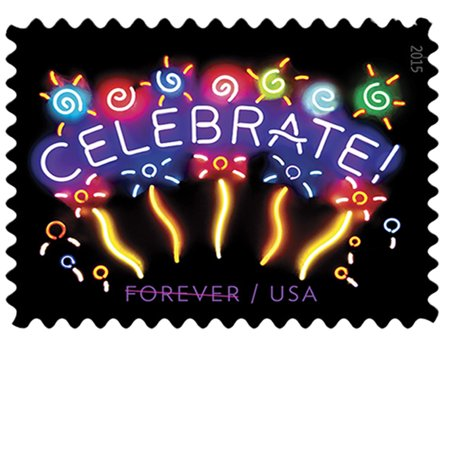 Neon Celebrate! 10 Sheets of 20 USPS Forever First Class Postage Stamps  Good Times Good Wishes Graduation Prom Wedding Announcment (200 Stamps)
