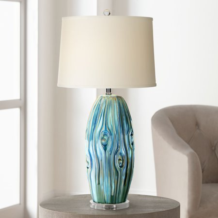 Possini Euro Design Coastal Table Lamp Ceramic Blue Green Swirl Glaze Neutral Oval Shade for Living Room Family Bedroom Bedside