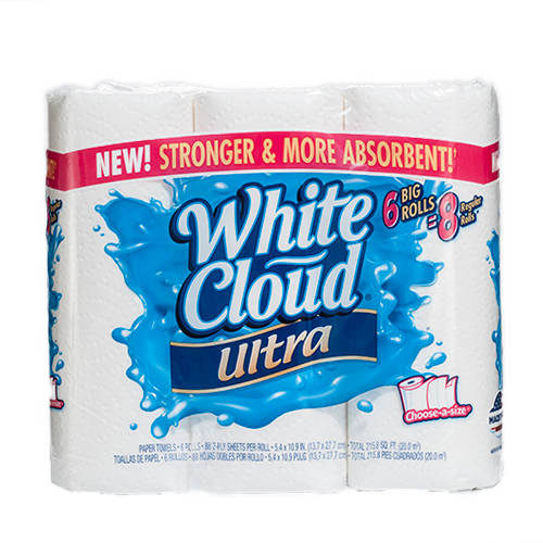 White Cloud Ultra Paper Towels, 6-Pack, 88 Kitchen Paper Towels per paper towel roll