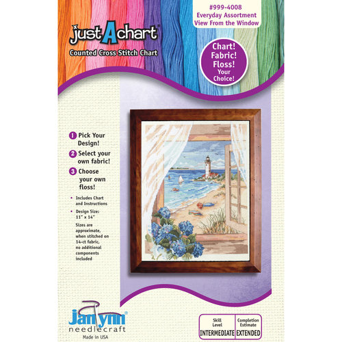 """Janlynn Just-A-Chart """"View From the Window"""" Counted Cross Stitch Chart"""