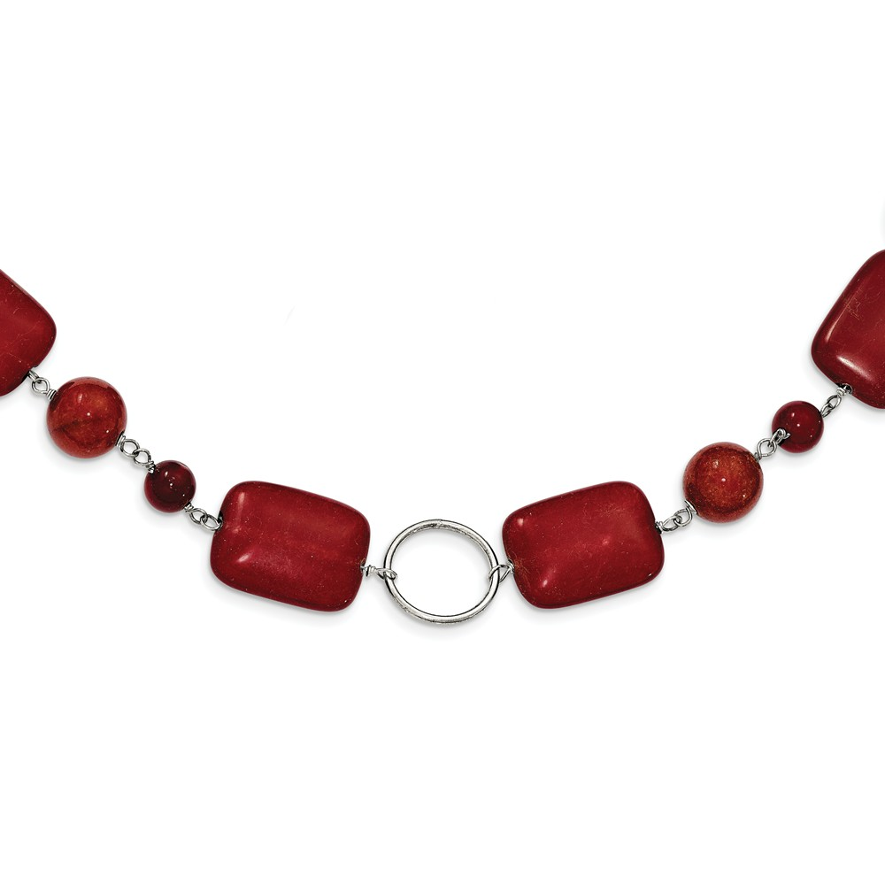 925 Sterling Silver Red Coral Red Agate Red Stone Necklace by Diamond2Deal