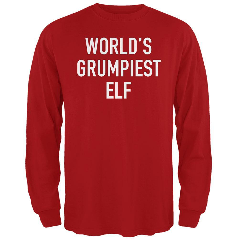 Christmas Worlds Grumpiest Elf Red Adult Long Sleeve T-Shirt