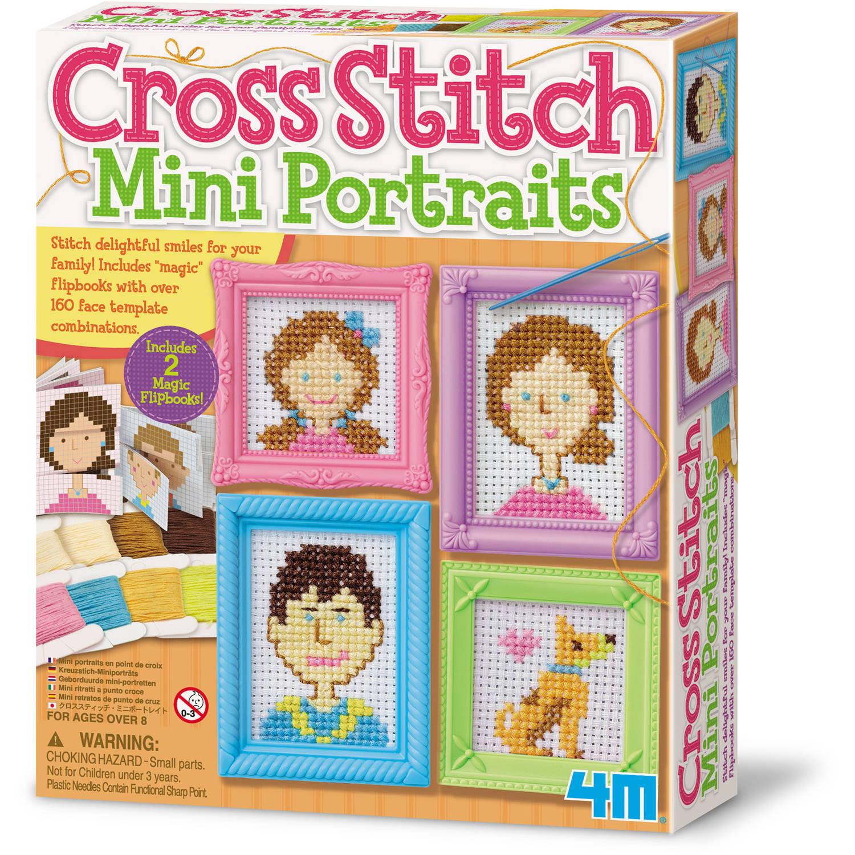 Image of 4M Cross Stitch Craft Sewing Kit, Mini Portraits