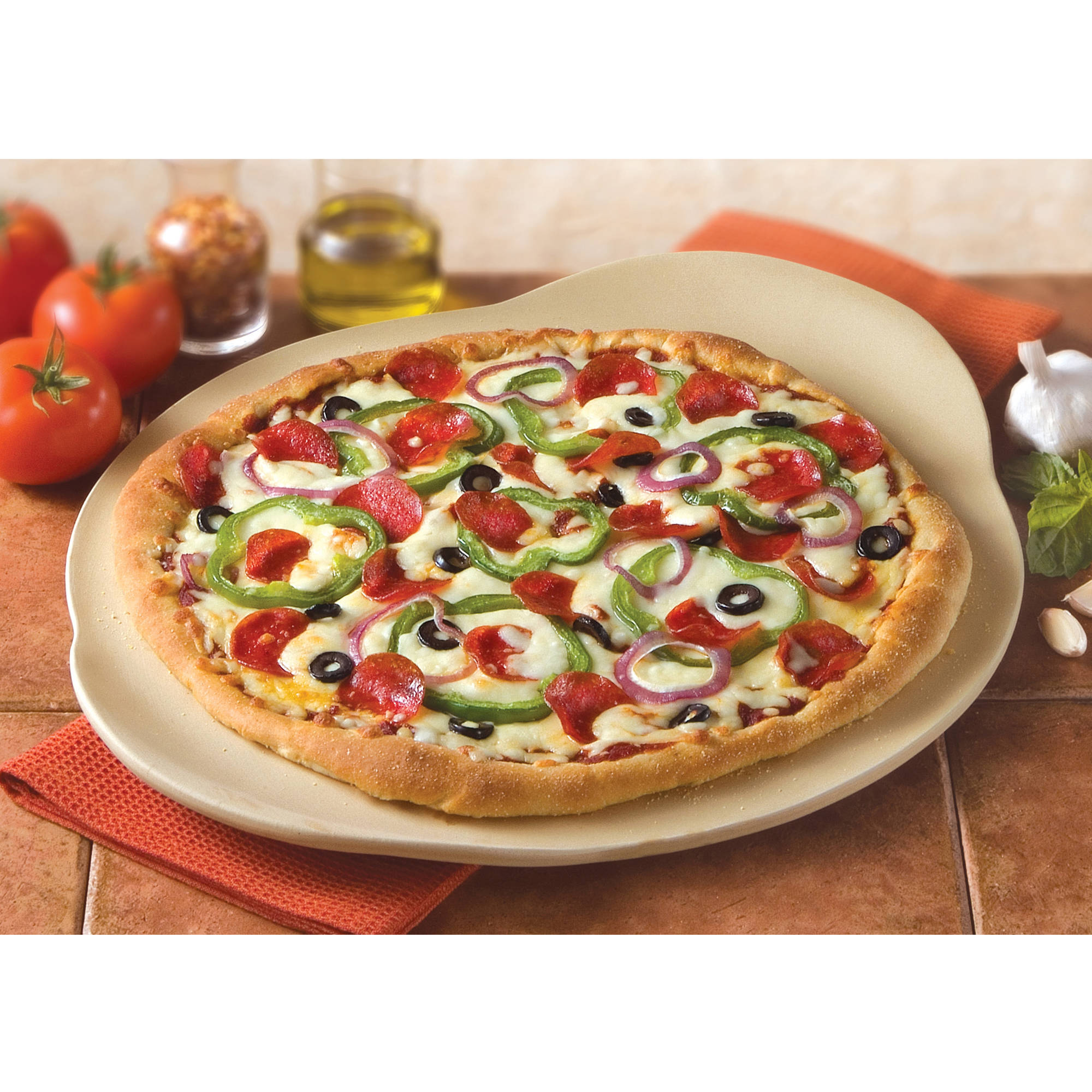 "Haeger Potteries 15"" Round Handled Oven Pizza Stone"