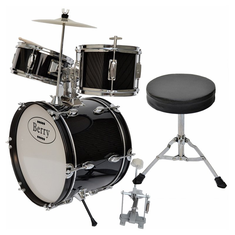 Berry Toys Kids Large Drum Set - Black