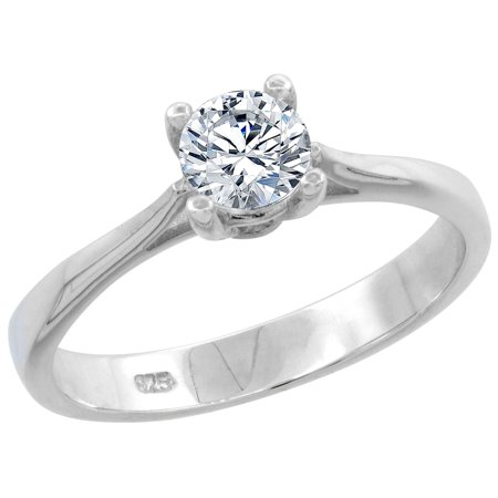 Sterling Silver 1 2 Carat Size Brilliant Cut Cz Solitaire Bridal Ring  Available In Sizes 6 To 10
