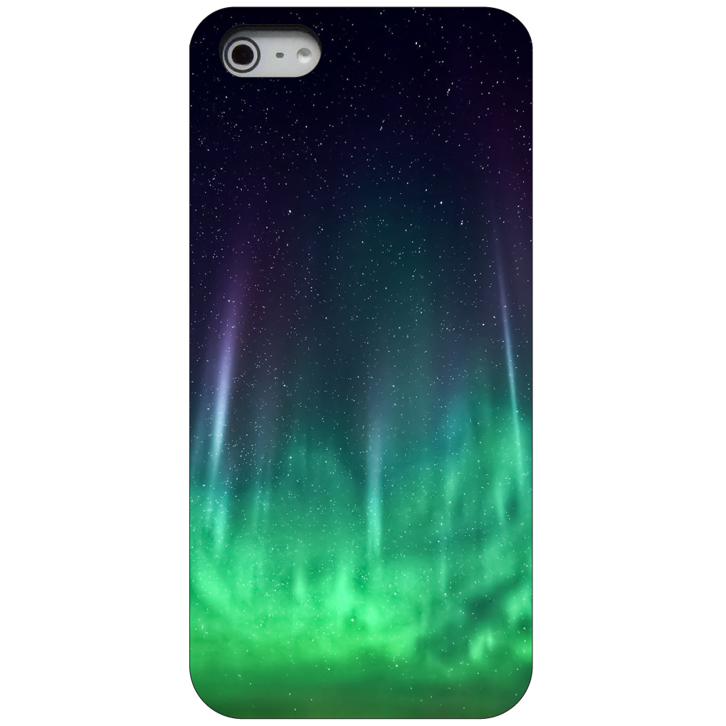 CUSTOM Black Hard Plastic Snap-On Case for Apple iPhone 5 / 5S / SE - Aurora Borealis Northern Lights
