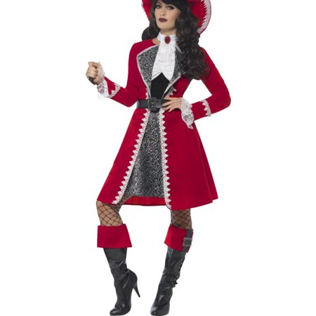 Adult's Womens High Seas Scarlet Red Pirate Captain Costume