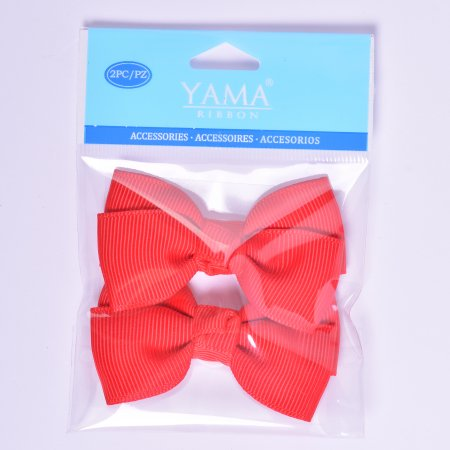 Yama Ribbon Red Grosgrain Bows, 2 Count - Large Ribbon Bows