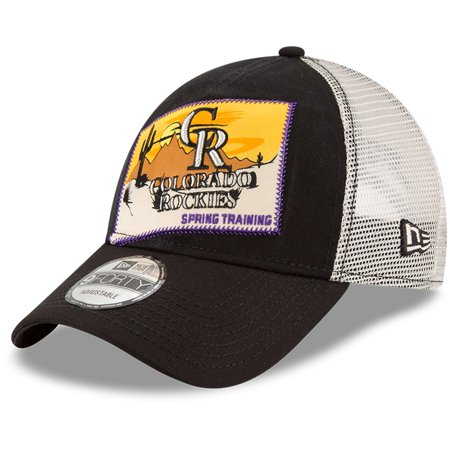 Colorado Rockies New Era 2018 Spring Training Patched 9FORTY Adjustable Trucker Hat - Black - OSFA