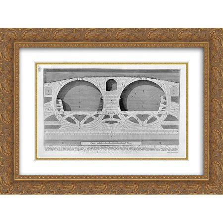 Giovanni Battista Piranesi 2x Matted 24x20 Gold Ornate Framed Art Print 'The Roman antiquities, t. 4, Plate XIX. Plan, elevation and details of construction of the Bridge of Four (Details Plan)