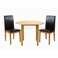 SK New Interiors Dining Kitchen Set of 3 Piece Round Table and 2 Classic Solid Wood Fallabela Chairs, Maple