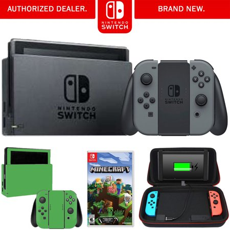Nintendo Switch 32 GB Console w/ Gray Joy Con (HACSKAAAA) + Minecraft Bundle Includes, Nintendo Switch Minecraft, Charging Case w/ Built-in Stand (10000mAh Battery) and Nintendo Switch Lime Skin](Halloween Skin Pack Minecraft Pc)