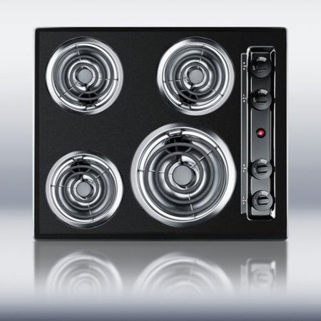 24  wide 220V electric cooktop in black porcelain finish 24  wide electric cooktop in black finish Porcelain enamel surface offers easy cleanup and long-term durability Made in the USA SUMMIT's built-in electric cooktops offer quality performance at great value, with a range of sizes and styles to suit your kitchen needs. The TEL03 is a 24  wide cooktop with a scratch resistant porcelain surface in black. It features one 8  and three 6  coil elements, all with chrome drip bowls. A recessed top helps to contain spills. This model is made in the USA and also available with a white or bisque finish. Dimensions Height: 3.75  Width: 24.0  Depth: 20.0  Countertop Cutout Width: 22.63  Countertop Cutout Depth: 18.63  Shipping Weight: 30.0 lbs. Weight: 27.0 lbs. Specifications Canadian Electrical Safety: ULC US Electrical Safety: UL Heating Type: Radiant Surface Type: Painted Burner Type: Coils Number of Burners: 4 Burner Temperature Control: Dial Parts/Labor Warranty: 1 Year
