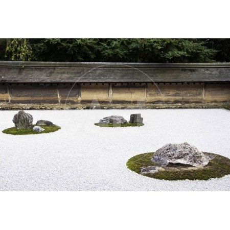Zen Rock Garden in Ryoanji Temple, Kyoto, Japan Print Wall Art By Sira Anamwong (Ryoanji Temple)