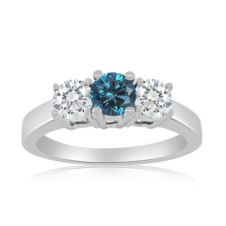 1.00ctw Diamond Three Stone Ring with Center Blue Diamonnd in 10k White (10k Elongated Ring)