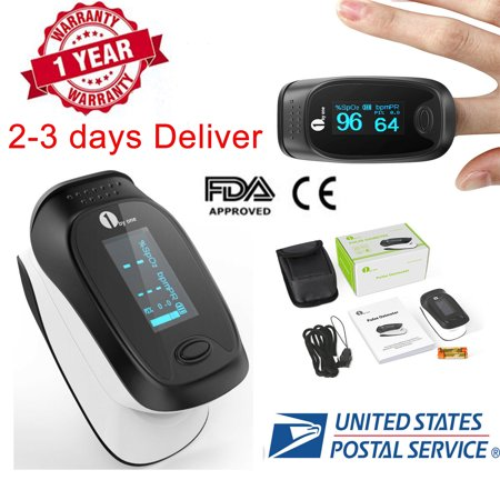 1byone Portable Fingertip Pulse Oximeter Instant Read Digital Pulse Oximeter Finger Monitor with OLED Display Screen, Carry Case, Lanyard and Batteries ()