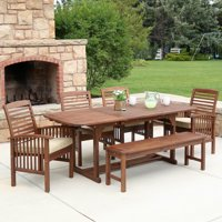 Manor Park 6-Piece Outdoor Patio Dining Set with Cushions - Dark Brown