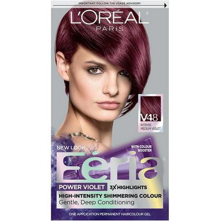 L'Oreal Paris Feria Power Violet High-Intensity Shimmering Colour, Intense Medium Voilet [V48] 1 ea (Pack of -