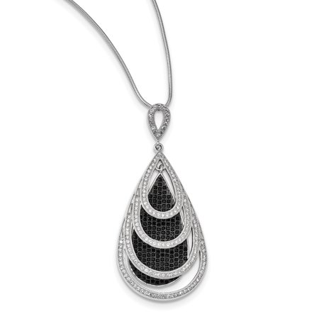 Sterling Silver & CZ Brilliant Embers Teardrop Necklace 18 Inch - image 1 of 3