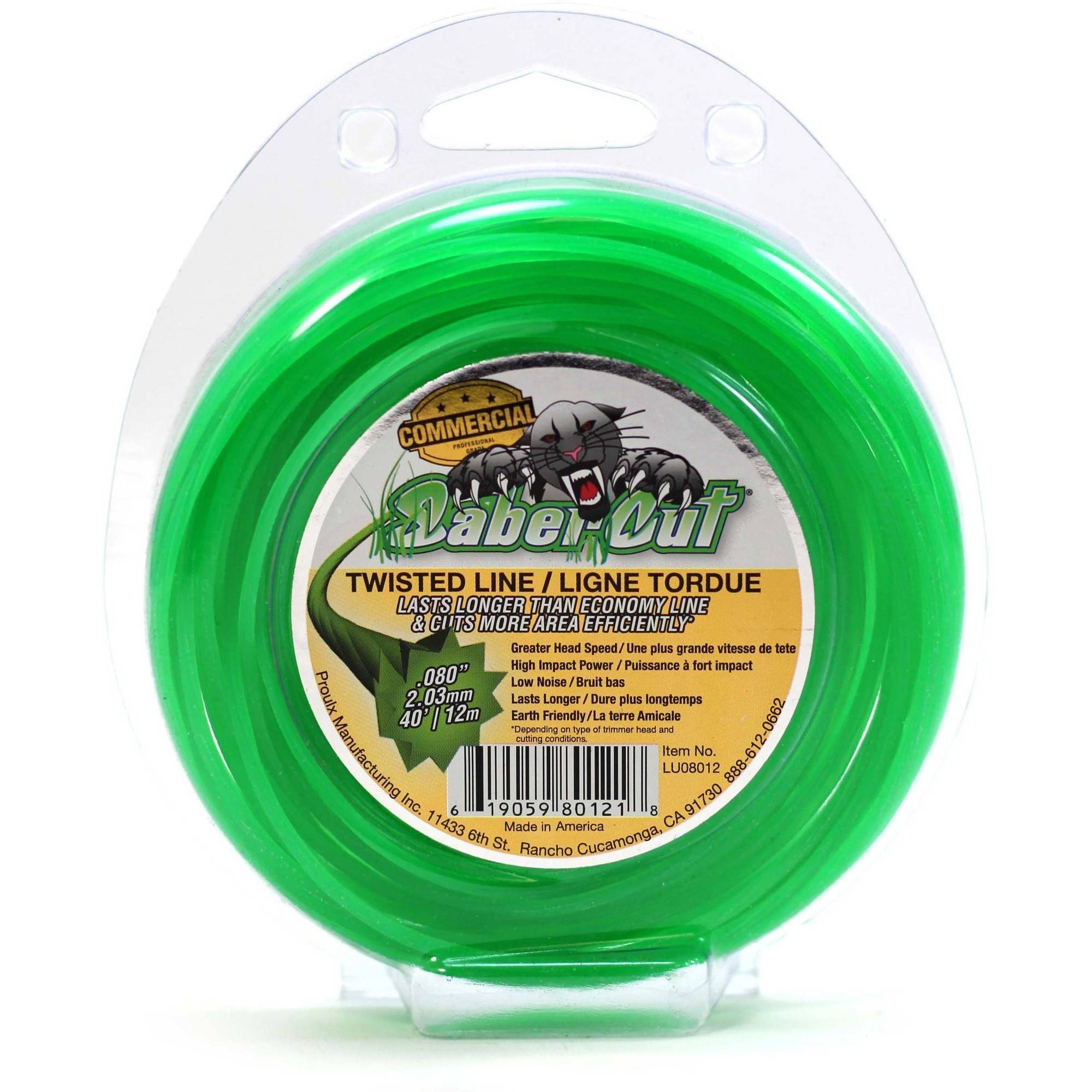 SaberCut Super Edge LU08012 40' 080 Loop Twisted Trimmer Line, Green