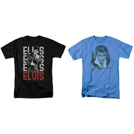 Elvis 2 Shirt Combo Pack Bundle Suede & 1968 Adult Mens T-Shirt Black &