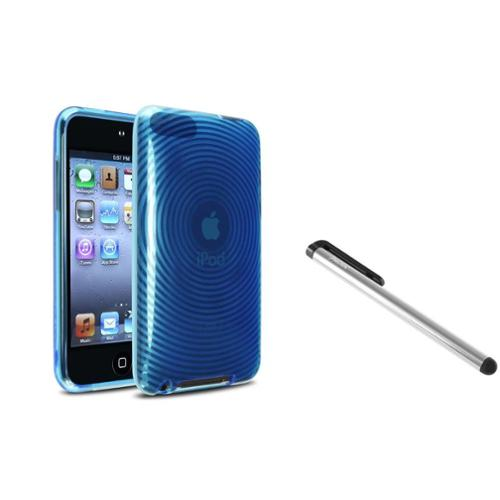 Insten Blue Con Circle TPU Cover Skin Case+Silver Stylus For iPod touch 3rd Gen 2 3 G