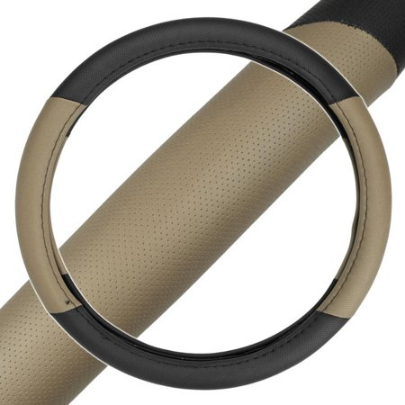 BDK 2-Tone, Perforated PU Leather Car Steering Wheel Cover For Car Van SUV Truck Beige, Standard,