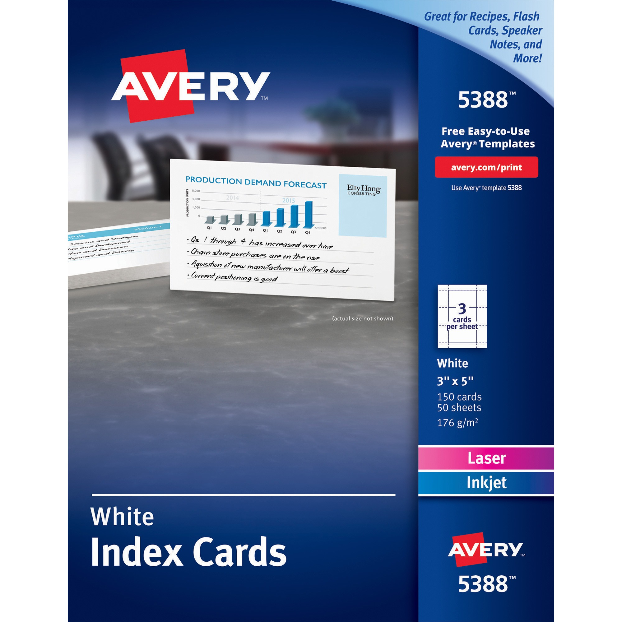 Avery Unruled Index Cards for Laser and Inkjet Printers, 3 x 5, White, 150/Box